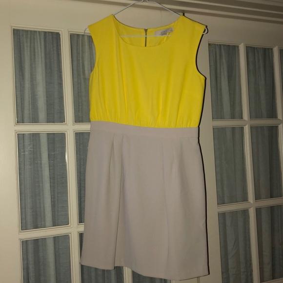 LOFT Dresses & Skirts - LOFT Yellow & Grey Sleeveless Dress
